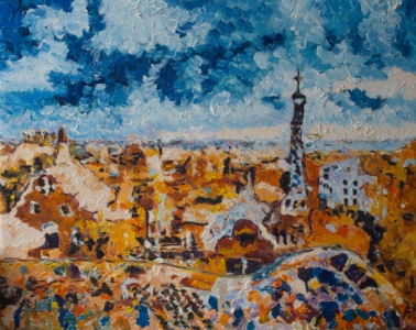 Barcelona. Park Guell, oil on canvas, Aleksander Lefbard