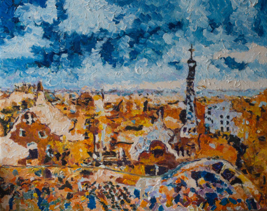 Barcelona. Park Guell, oil on canvas, Aleksander Lefbard