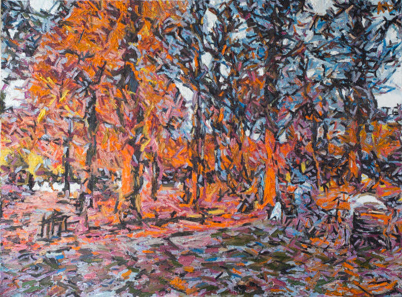 Le jardin des Tuileries en Automne, A.Lefbard, 90*80 cm, 2014, oil on canvas
