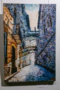 Barcelona. Quartier Gothic. oil on canvas. Aleksander Lefbard