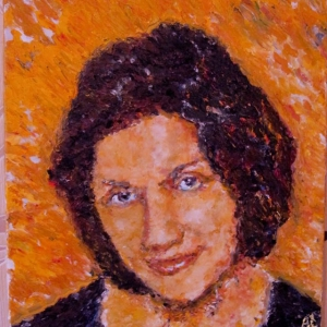 Woman's portrait, A. Lefbard, 40x40cm, 2014, oil on canvas, private collection