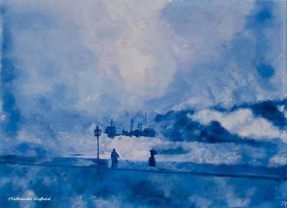Blue fog, A. Lefbard, 90x65 сm, 2014, oil on canvas