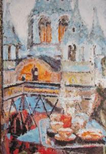 Breakfast on the balcony, A. Lefbard, 50x72 сm, 2014, oil on canvas