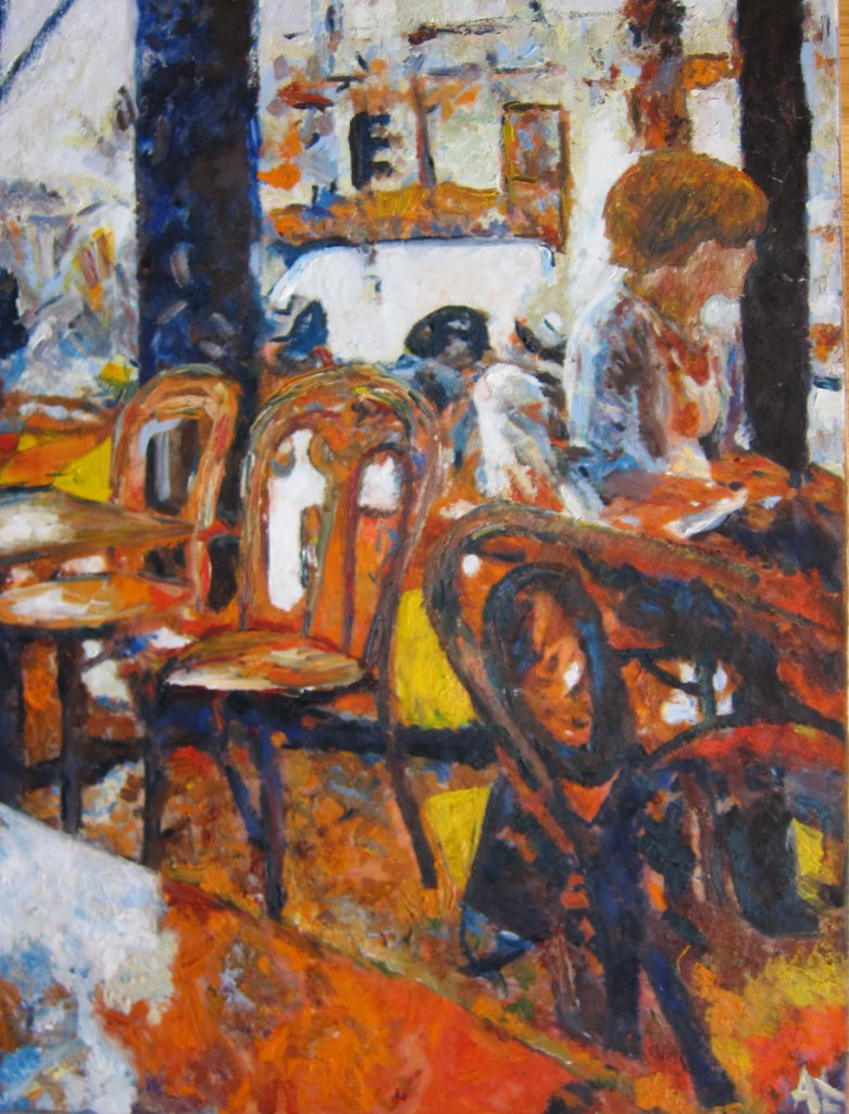 Woman in cafe, A. Lefbard, 45x60 сm, 2014, oil on canvas