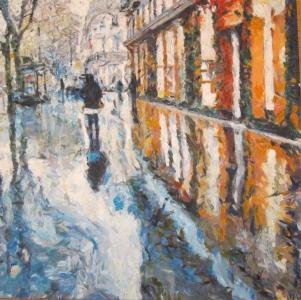 Rain. Reflection. A. Lefbard, 2015, 85x85 сm, oil on canvas