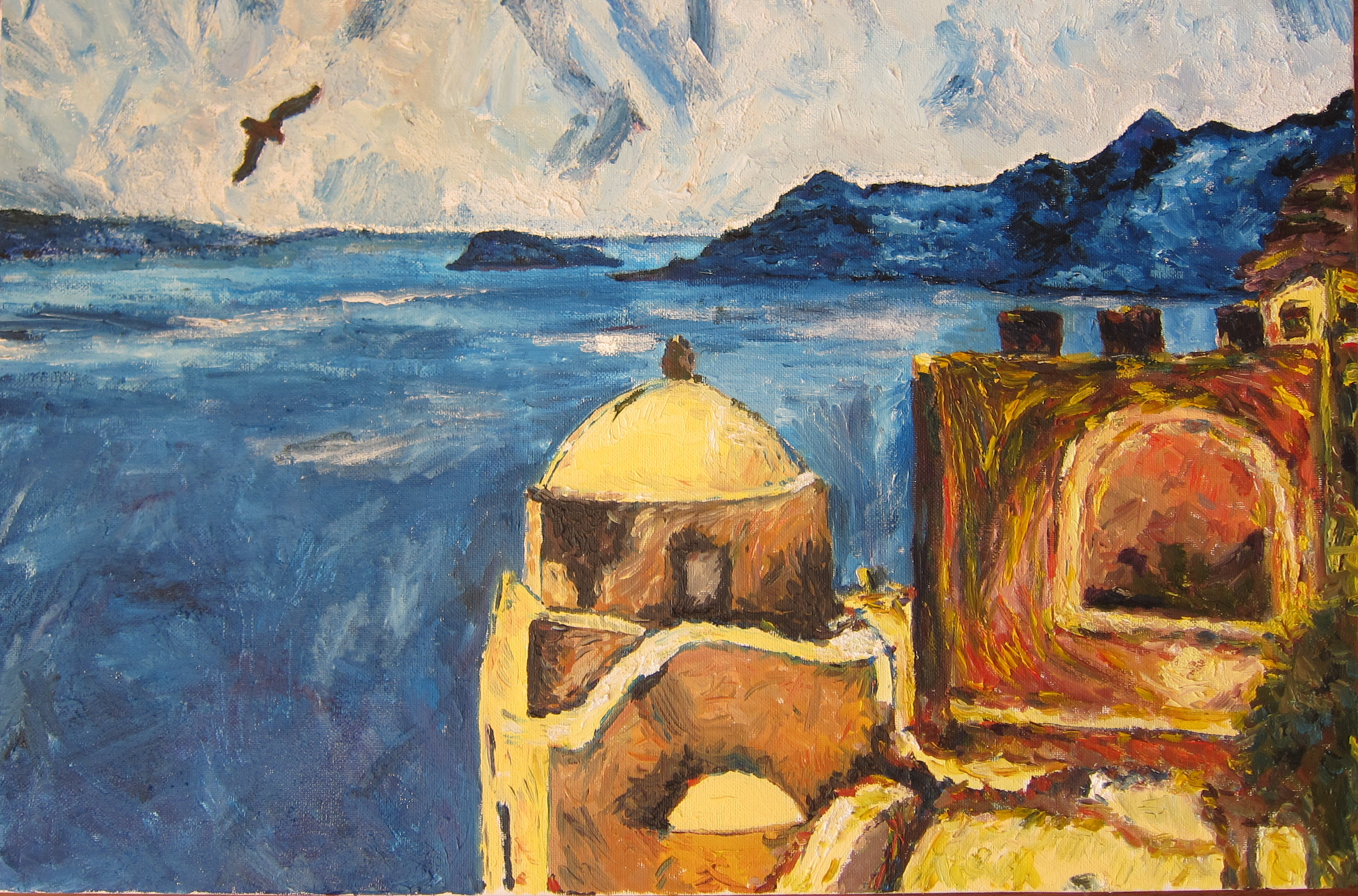 Santorini. A.Lefbard, 2015, oil on canvas